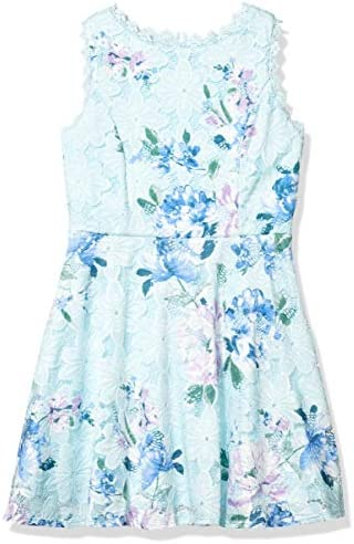 Amy Byer Girls Fit Flare Allover Lace Dress Aqua Floral 16 product image