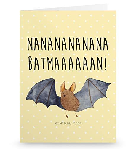 Mr. & Mrs. Panda Hochzeitskarte, Einladungskarte, Grußkarte Fledermaus fliegend mit Spruch - Farbe Gelb Pastell