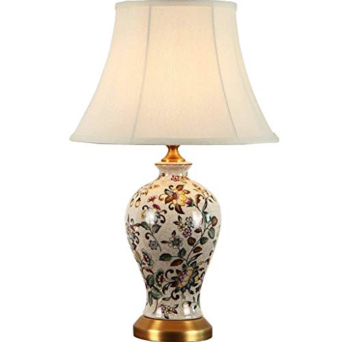 Allamp Norte de Europa Todo Cobre lámpara de Mesa de cerámica, American Retro decoración del hogar Europea cálida lámpara de Noche Dormitorio Pintado a Mano Creativa