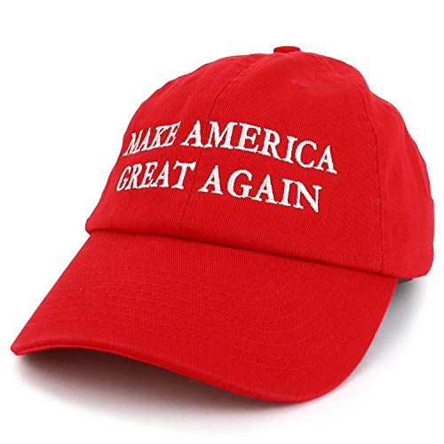 Made in USA Donald Trump Soft Cotton Cap - Make America Great Again Embroidered - Red
