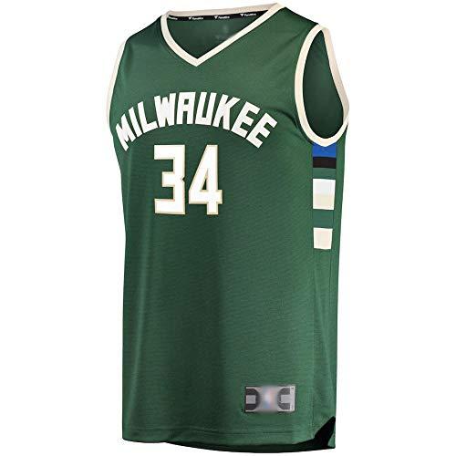 Goxegag Camiseta de baloncesto al aire libre Giannis Bucks # 34 Milwaukee Antetokounmpo Réplica Jersey Verde Transpirable Casual Camiseta para Hombres Icon Edition