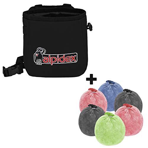ALPIDEX Chalkbag + 6 x Chalkball 35 g bunt gemischt, Farbe:Black Rock