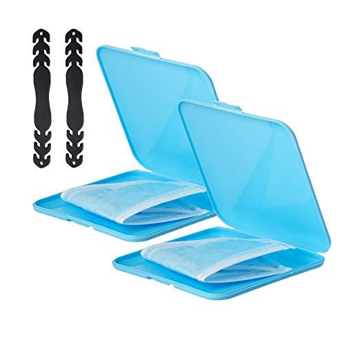 RC ocio Pack 2 Porta Mascherina + 2 Ganci per mascherine   Custodia per mascherine, portamascherine Tascabile per mascherine Anche da Bambini. Contenitore/Scatola/Astuccio/per mascherine (Azzurro)