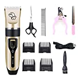 ZUMECA Pet Clippers Electric Dog Shaver, Professional Rechargeable Low Noise Cordless Hair Clippers Pet Grooming Kit with Comb Guides Scissors Nail Kits for Dogs Cats and Other House Animals (Gold)