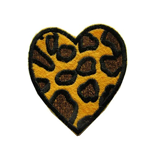 ETDesign #E03550M Leopard Print Heart Embroidery Iron On Applique Patch-2.15' by 2.15'