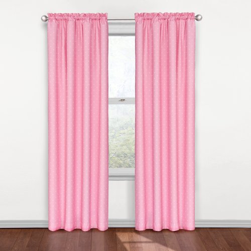 Eclipse Kids 12424042X084PNK Polka Dots 42-Inch by 84-Inch Blackout Single Window Curtain Panel, Pink