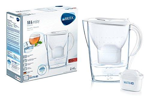 Brita – Karaffe mit Wasserfilter, kompatibel für Maxtra+-Kartuschen, Farbe: Weiß 2,4 L weiß