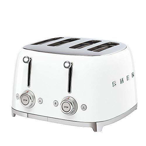 Smeg TSF03WHUK Retro 4 Slice Toaster, 4 Extra-Wide Slots, 6 Browning Levels, Automatic Pop-Up, Removable Crumb Trays, Reheat and Defrost Buttons, Anti Slip Feet, 2000 W, White