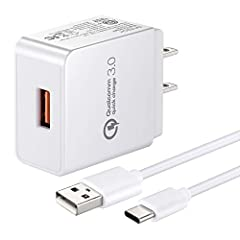 Quick Charge 3.0 Wall Charger(Qualcomm QC 3.0, Compatible Quick Charge 2.0.). Compatible LG G8 G8X V60 V50 V40 V35 V30S G7 ThinQ,Q Stylo 4,LG G5 G6 V20 V30, Galaxy A70 A30 A20 M40,Tab S4 S3 Tablet,Tab active 2, Asus ROG Phone 1 ZS600KL/2 ZS660KL,Next...