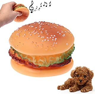Pet Toys Dog Interactive Activity Toy, Hamburger Shape Plastic Pet Toys with Whistle for Dogs/Cats