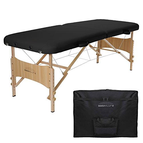 Saloniture Basic Portable Folding Massage Table - Black