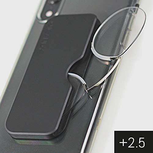 ICANDY Pocket reading Glasses - Praktische Lesebrille mit Halterung zum überall anbringen - (2,5 Dioptrien)