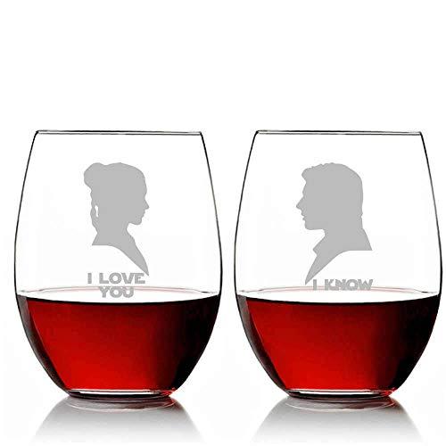 Silhouette Ik hou van U en Ik Ken 11oz Stemless Wijnglas