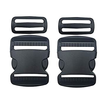 """EesTeck 2 Set 2 Inch Flat Dual Adjustable Plastic Quick Side Release Plastic Buckles and Tri-Glide Slides for Luggage Straps Pet Collar Backpack Repairing  Black Fit for 2""""/50mm Webbing Straps"""