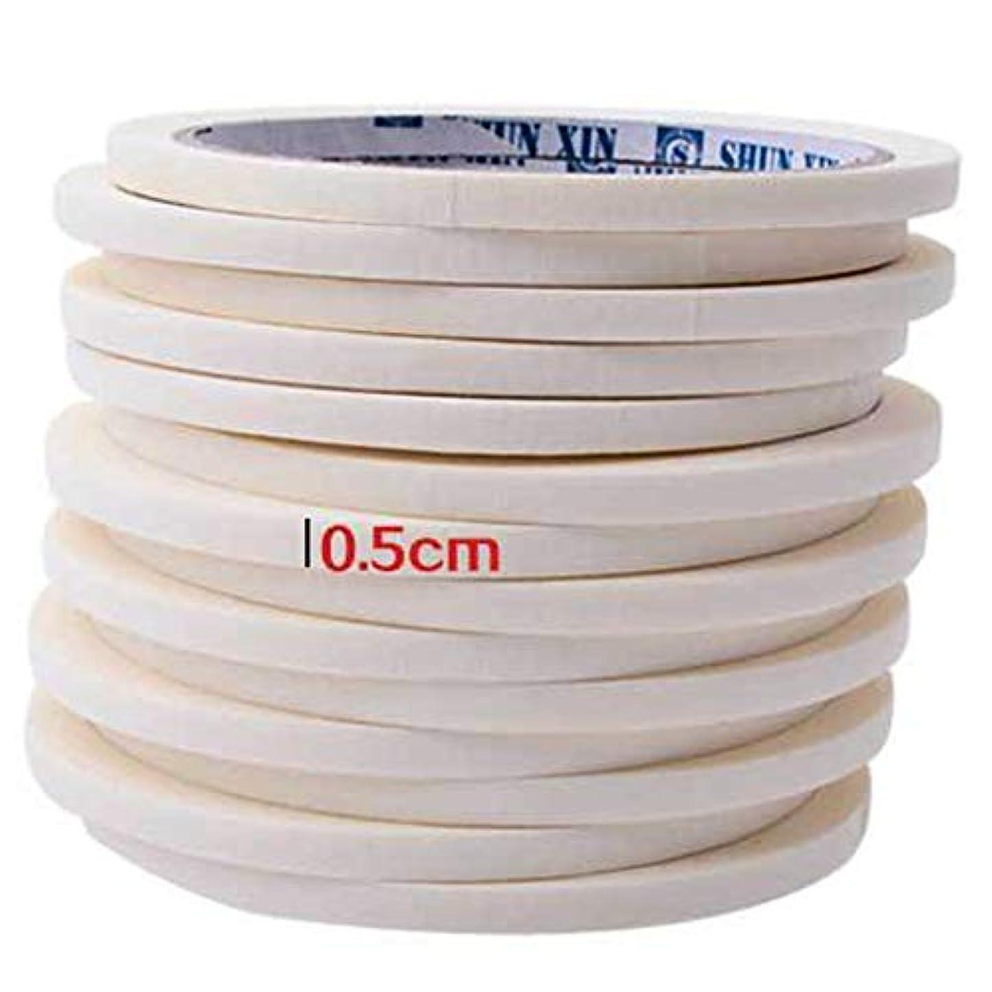 口述目を覚ますコンベンションネイルテープ0.5センチマスキングテープ装飾模様ネイルポリッシュツールマニキュアネイルアートネイルテープアクセサリー用マニキュア(Color:white)