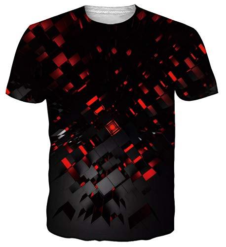 Belovecol Tshirt Herren Lustig 3D Sommer T Shirt Coole Schwarz Kurzarm T-Shirt, Red Black, L