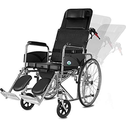 GGXX Wheelchair Foldable Full Recline Manual Wheelchair With Toilet Table Board For Elderly Hand Push Wheelchair With Adjustable Angle