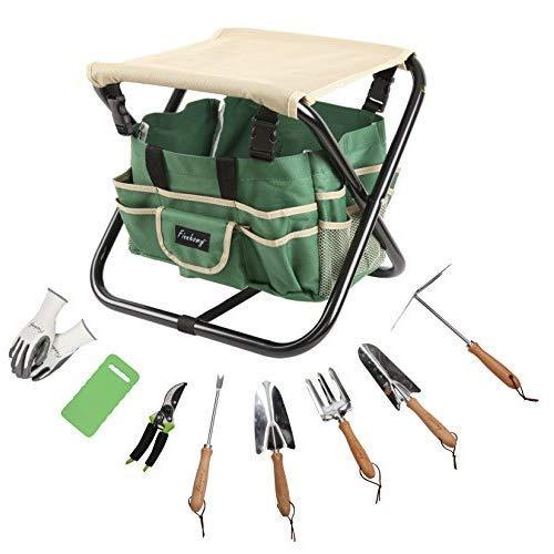 Finnhomy 10 Piece all-in-one Garden Tool Set Garden Folding Stool Seat