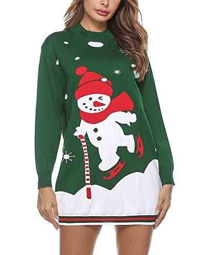 Aibrou Jersey Navideño Mujer, Suéter de Navidad Pullover de Punto con Cuello Redondo Invierno Manga Larga Monigote de Nieve Suéter Navidad Punto Jersey Navideños Suéteres para Casual Cómodo
