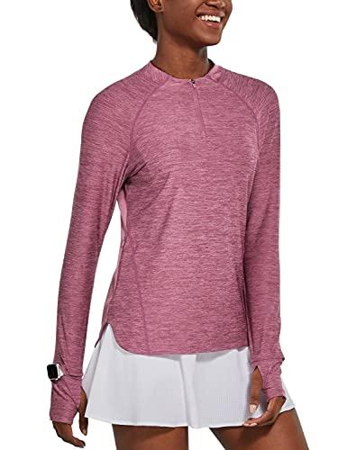 BALEAF Women's Long Sleeve Hiking Shirts UPF50+ Sun Shirts Zip Pullover Quick Dry Lightweight for Running Workout Purple Size L