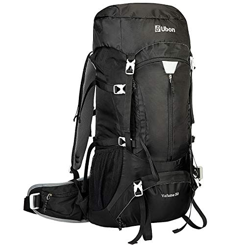 Ubon 50L Ventilated Hiking Backpack with Rainfly for Adventure Sports Black