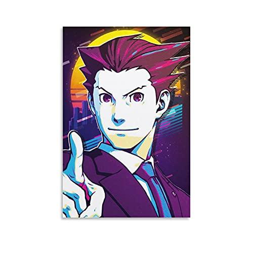 Jizhuang Phoenix Wright Apollo Justice Ace Attorney Anime Poster decorativo su tela da parete per soggiorno, camera da letto, 30 x 45 cm
