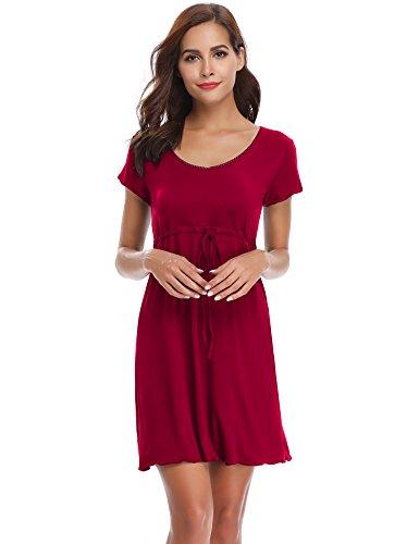 Aibrou Damen Sommer Modal Nachthemd Rundhals Nachtkleid Knielang Umstandskleid Stillnachthemd Weinrot XL