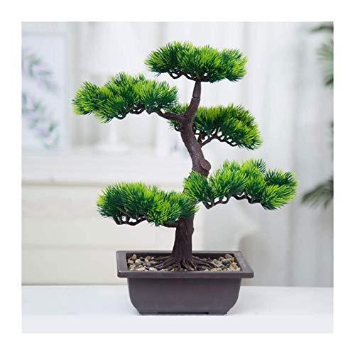 Artificial Plants & Greenery Konstgjord Bonsai i plastblomma Träd Fake Pine Tree Inredning Potted Fake Plant Ornament För Living Room Office Dekoration, 14,6L × 15,7 H Desk Decor (Color : B)