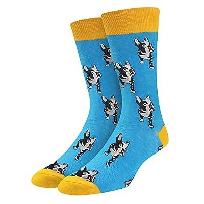 SOCKFUN Funny Shark Corgi French Bulldog Shepherd Dog Animal Gift Socks For Men