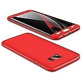 JMGoodstore Funda Galaxy S7,Carcasa Samsung S7,Funda 360 Grados Integral para Ambas Caras+Cristal Templado,[ 360°] 3 in 1 Slim Fit Dactilares Protectora Skin Caso Carcasa Cover Rojo