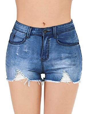 Haola Womens Denim Shorts Summer Stretchy Frayed Raw Hem Distressed Jeans Shorts White S