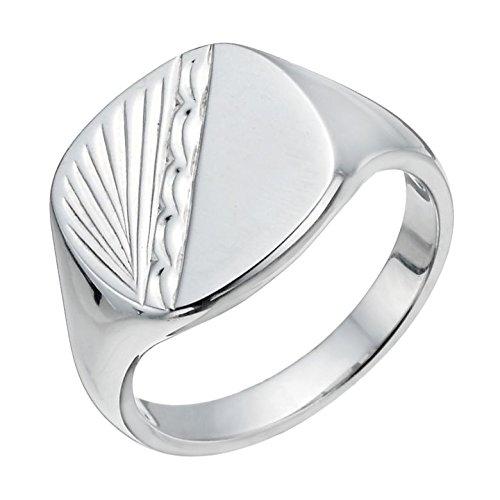 Signet Ring Silver Patterned Men's Signet Ring Sterling Silver (U)