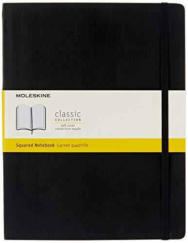 Moleskine Classic Notebook, Taccuino a Quadretti, Copertina Morbida e Chiusura ad Elastico, Formato XL 19 x 25 cm, Colore Nero, 192 Pagine