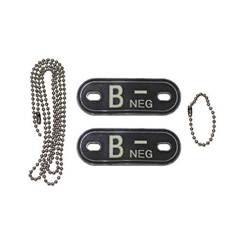Copytec Dog Tag bloedgroep B-Neg Negatieve noodgeval ketting 3D Rubber leger luchtwapen Air Force sieraden Navy Marine 2,5 x 7 cm #20492