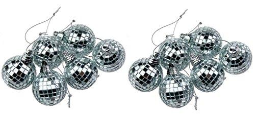 Toyland 12 Silber Minidisco-Spiegelkugel Weihnachtskugel Haus-Partei-Dekoration