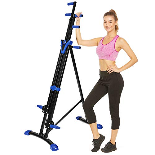 Flyerstoy Folding Vertical Climber Home Gym Exercise Climbing Machine for Home Body Trainer Stepper Cardio Workout Training (Blue)