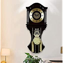 Pendulum Wall Clocks,Chime Clocks with Cherry Tone Wood Westminster Chiming Every Hour Battery Operated Wall Clocks Great Gifts Decorative Clocks for Home Office and Hotel,Black