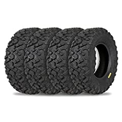 Front size: 25x8-12 ; rear size: 25x10-12; wheel (rim) diameter: 12 in ; ply rated: 6 ;tread depth: 20mm; Directional angled knobby tread design great in most terrain with high performance on trails and suitable for desert, mud, dirt and rock applica...