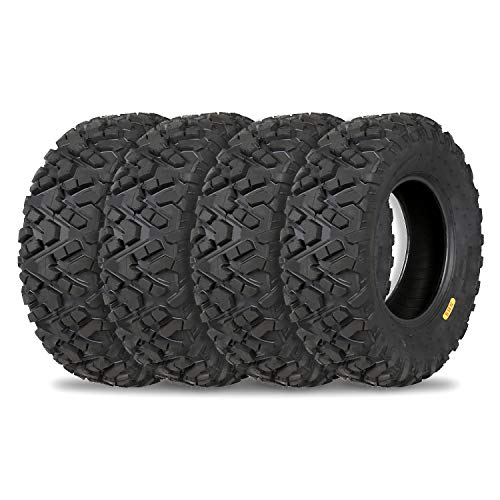 Weize All Terrain ATV Tires, Front 25x8-12 / 25x8x12 & 25x10-12 / 25x10x12 Rear, Full Set of 4, 6PR UTV Tire Suitable For mud, gravel, sand, rocky
