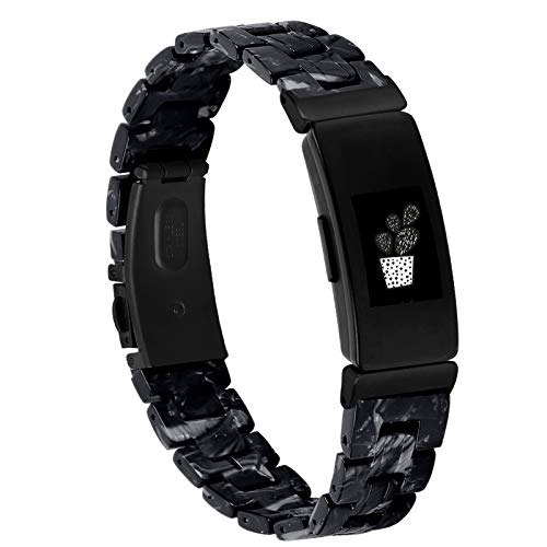 MEFEO Resin Band Compatible with Fitbit Inspire 2 Bands/Inspire HR Band/Inspire Band, Stylish Fashion Bracelet Replacement for Fitbit Inspire Fitness Tracker (Inspire 2, Shining Black)