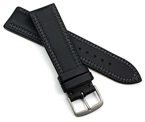 ETERNA 22mm Handarbeit LEDERBAND Kreuznaht BAND Retro Look Vintage quality STRAP schwarz robust Top
