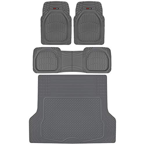Motor Trend MT-923 FlexTough Deep Dish Contours Rubber Car Floor Mats, Universal Front & Rear Combo Set with Trunk Cargo Mat Liner for Car Sedan SUV Van, Heavy Duty All Weather Trim to Fit