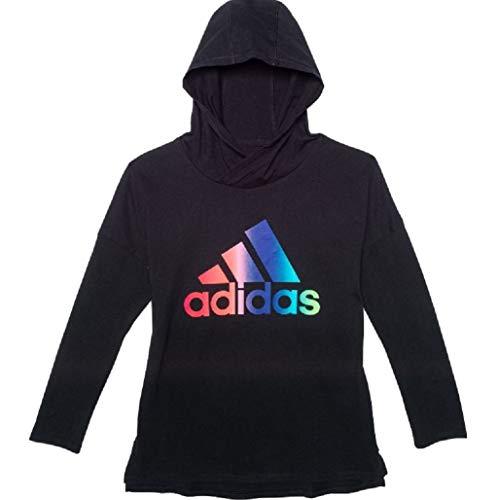 adidas Girl's Badge of Sport Light Hoodie (Large) Black