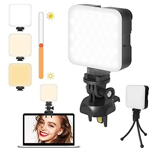 Videokonferenz Beleuchtung Licht mit Clip und Stativ, Laptop-Licht, Webcam Licht für Videokonferenzen, Zoom Meeting, Fernarbeit, Make up, Streaming, Vlogging(Dimmbar und Wiederaufladbar)