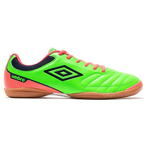 Umbro Futsal Attak IC, Zapatilla de fútbol Sala, Green-Orange-Navy, Talla 9.5 US (43 EU)