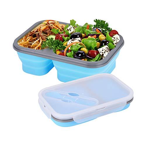 Hivexagon Faltbarer Aufbewahrungsbehälter klappbar Frischhaltedosen aus Silikon für Lebensmittel, Bento Bento Lunchbox Boxen, 2-Fach mit Gabellöffel, BPA-frei, für Erwachsene und Kinder (1 Stück)