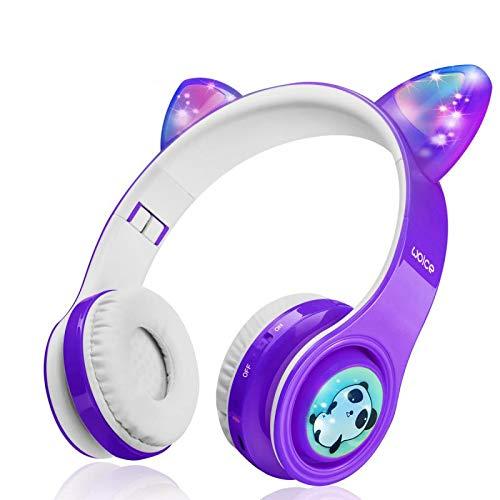 Kinder drahtlose Bluetooth-Kopfhörer-WOICE, LED-Blinklichter, Musik-Sharing-Funktion, Langlebige Batterie und 85db Volumen Begrenzt WOICE Kinder Bluetooth Kopfhörer für Jungen Mädchen(Violett)