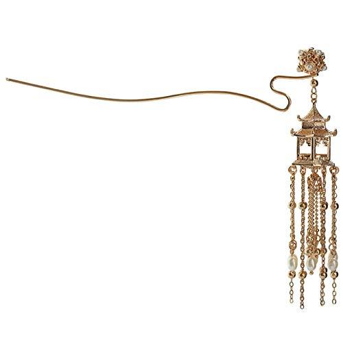 EHDFS Haarnadel Hanfu Retro Stil Pavillon Haarspange Handgemachte Chinesische Stil Kupfer Haarschmuck