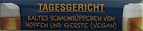 Jour Vegan tribunal bière Plaque de rue en fer-blanc 16 x 3,5 cm magnétique Str-M 58