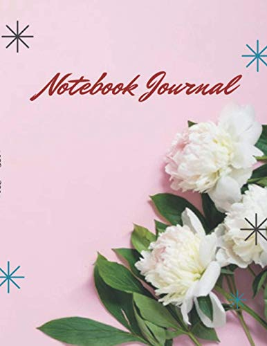 Checklist and Box Notebook journal Border pink peonies flowers pink background flat lay top view cover, 120 pages - Large(8.5 x 11 inches)